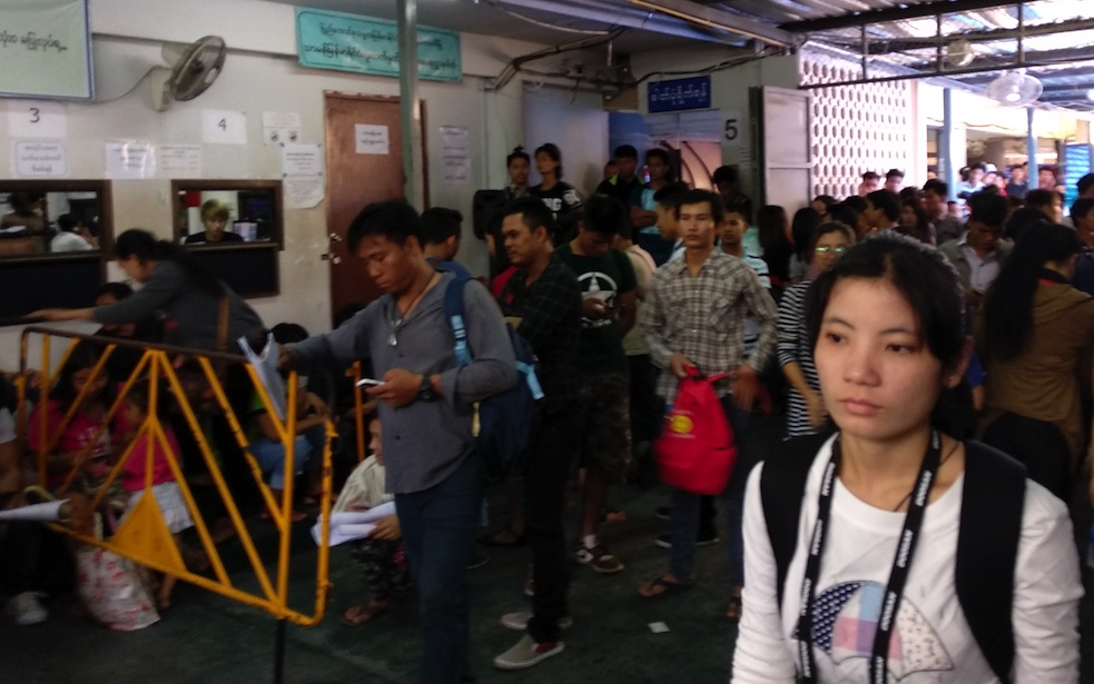 Myanmar migrant workers at the embassy in Bangkok. Photo: TSA