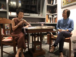 Reporting ASEAN's Johanna Son talks to author Kyaw Zwa Moe. Photo: Aung Myo Thant