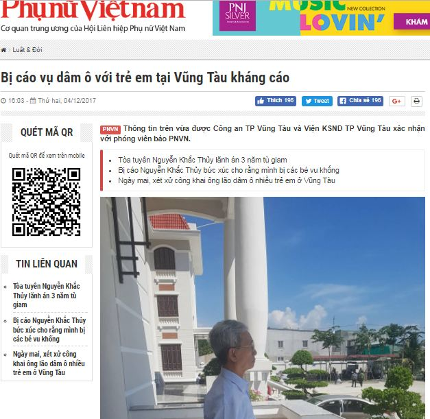 The Dec. 4, 2017 report by journalist Dinh Thu Hien on the appeal filed by the convicted child sex abuser in Vung Tau.